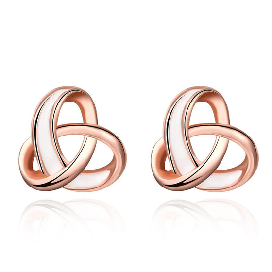 Rose Gold Knot Flower Earrings