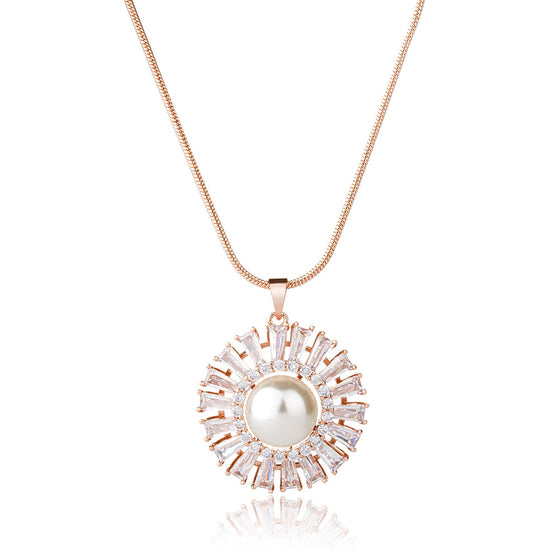 Round Pearl Crystal Gem Necklace Party Elegant Jewelry for Women