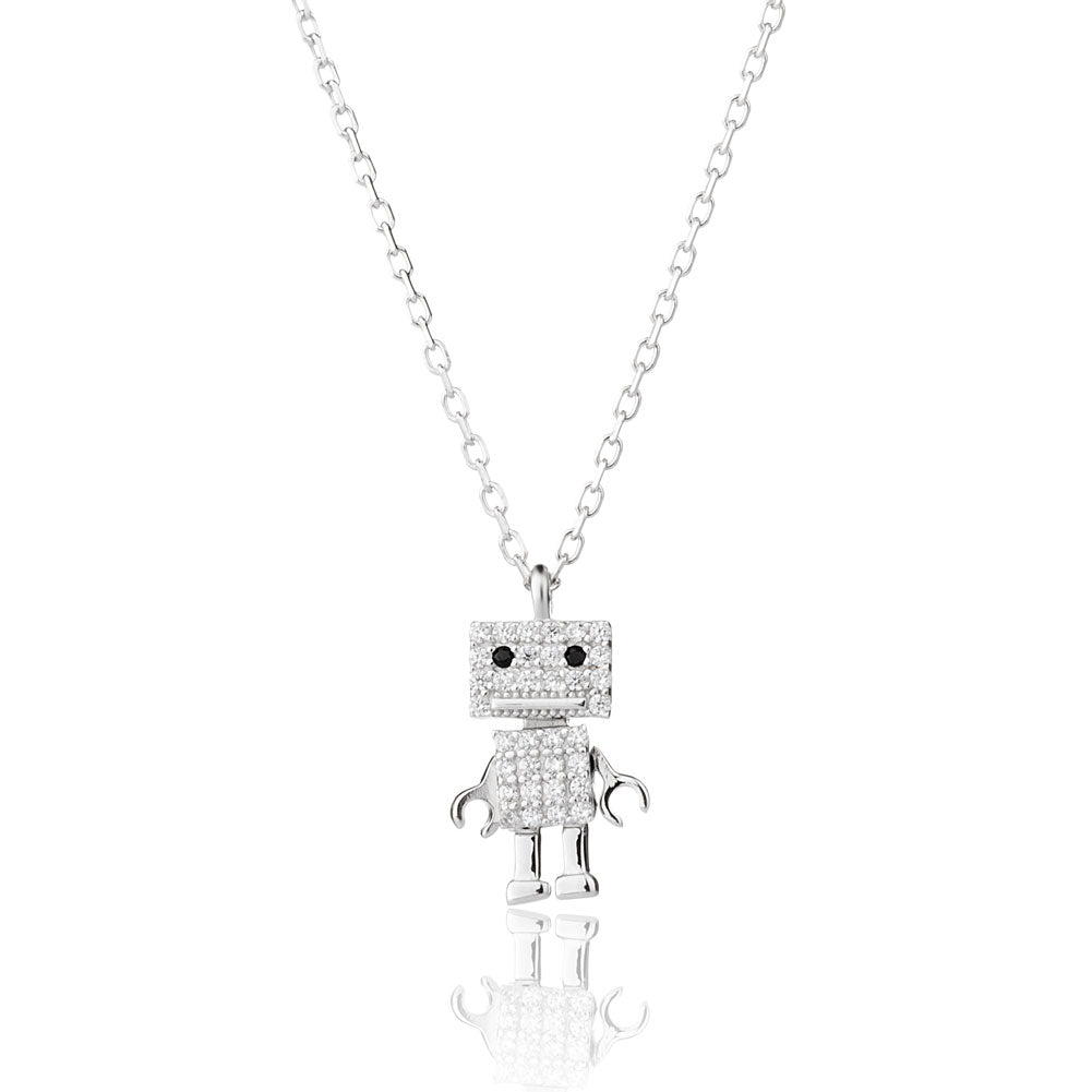 Movable Robot Necklace 925 Sterling Silver Jewelry