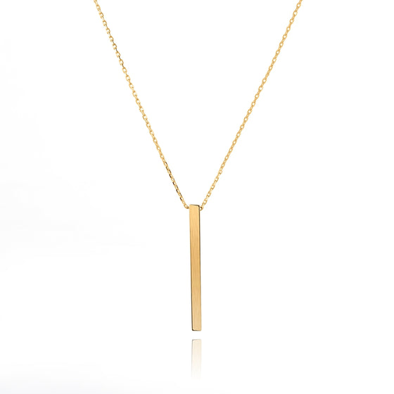 925 Silver Gold Color Plated Bar Necklace