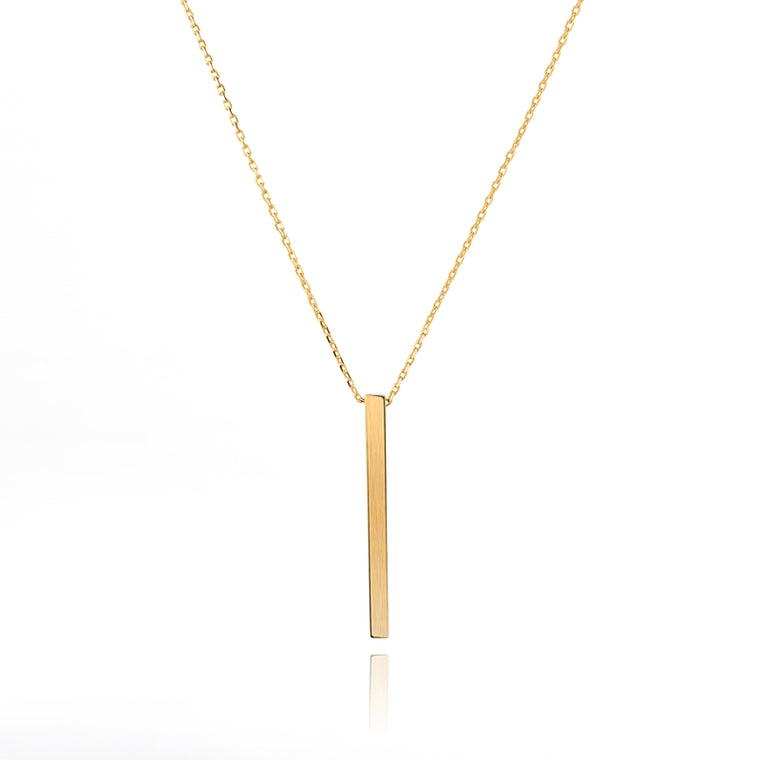 925 Silver Gold Plated Bar Necklace