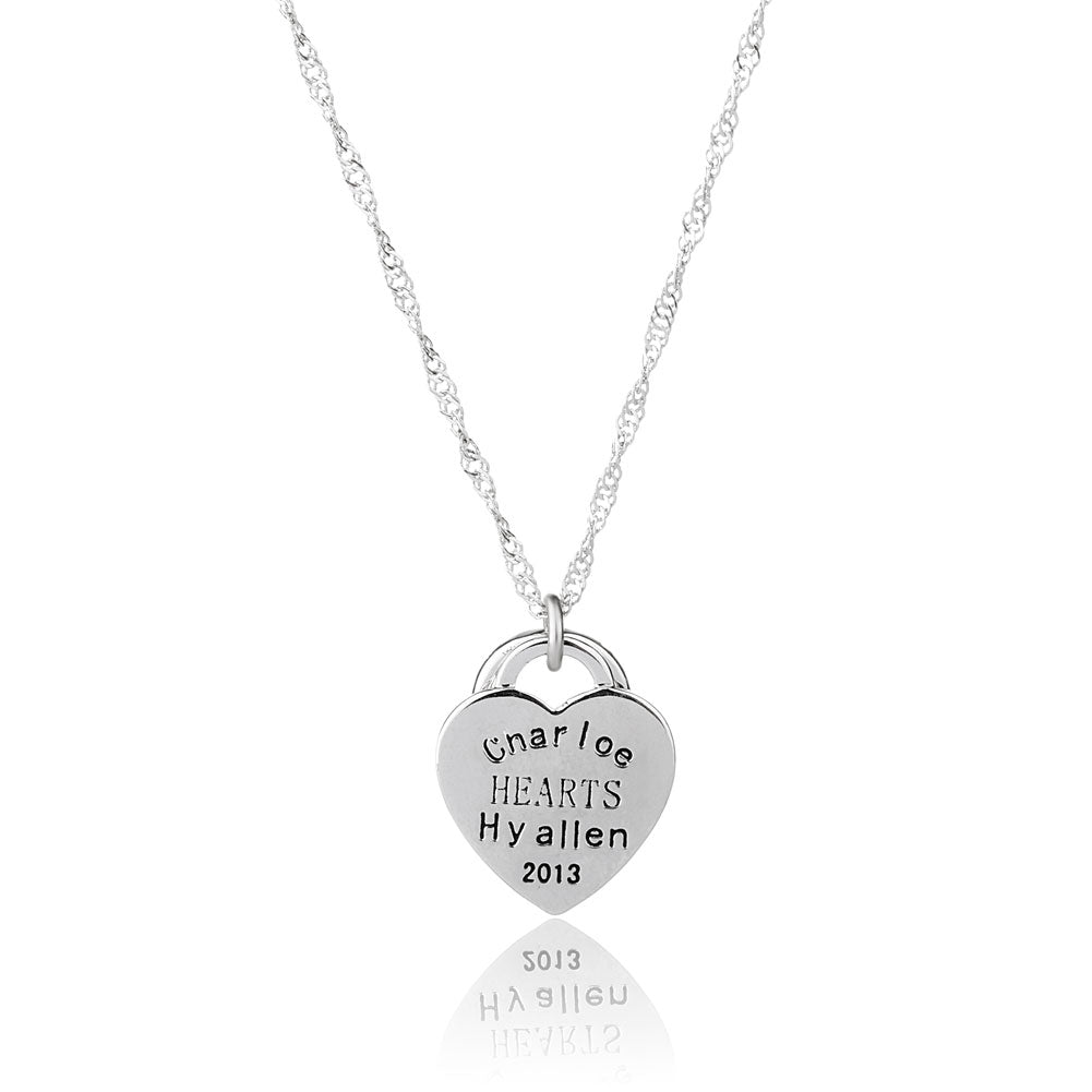 Silver Heart and Ring Necklace Words Carved Jewelry