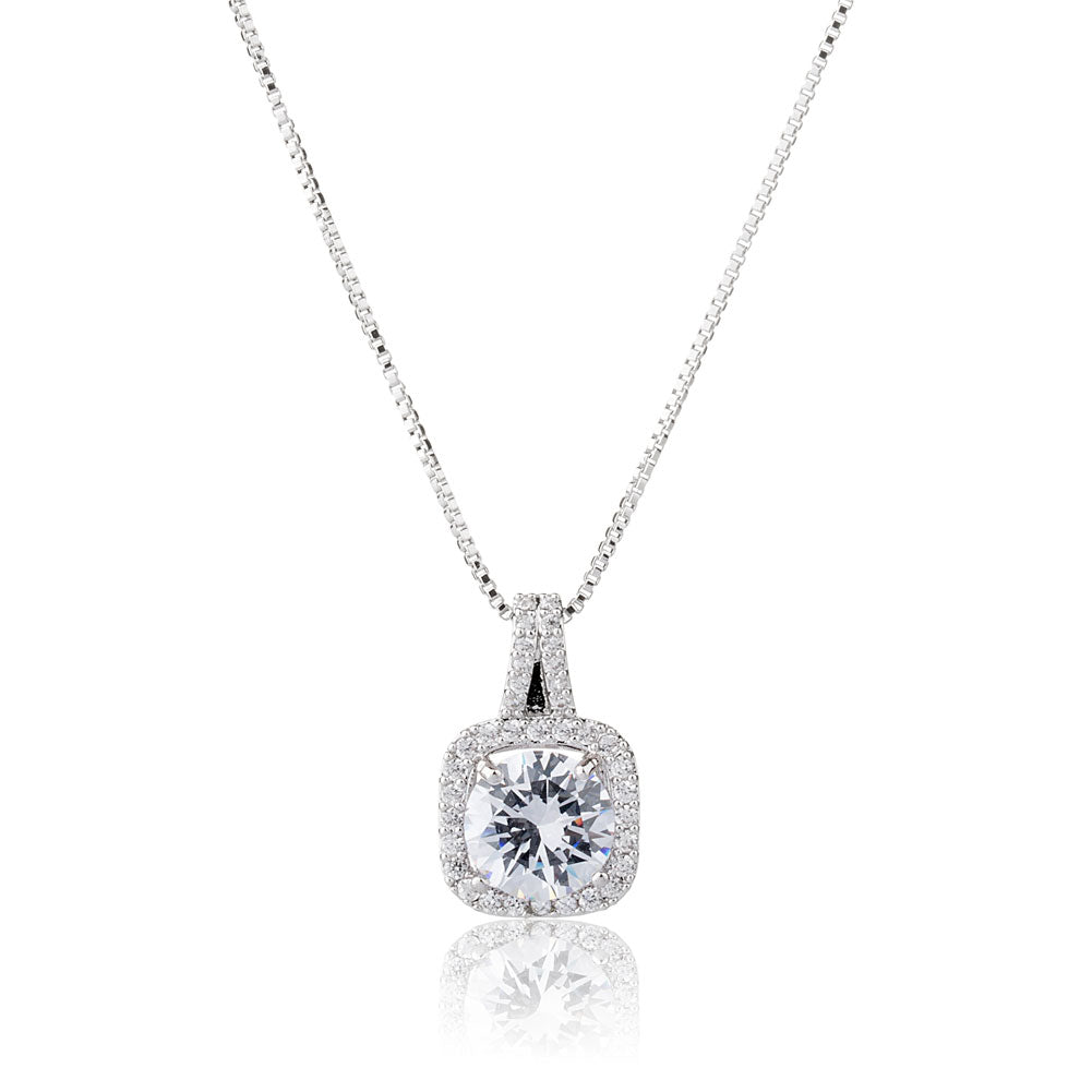 Crystal Silver Pendant Necklace for Women