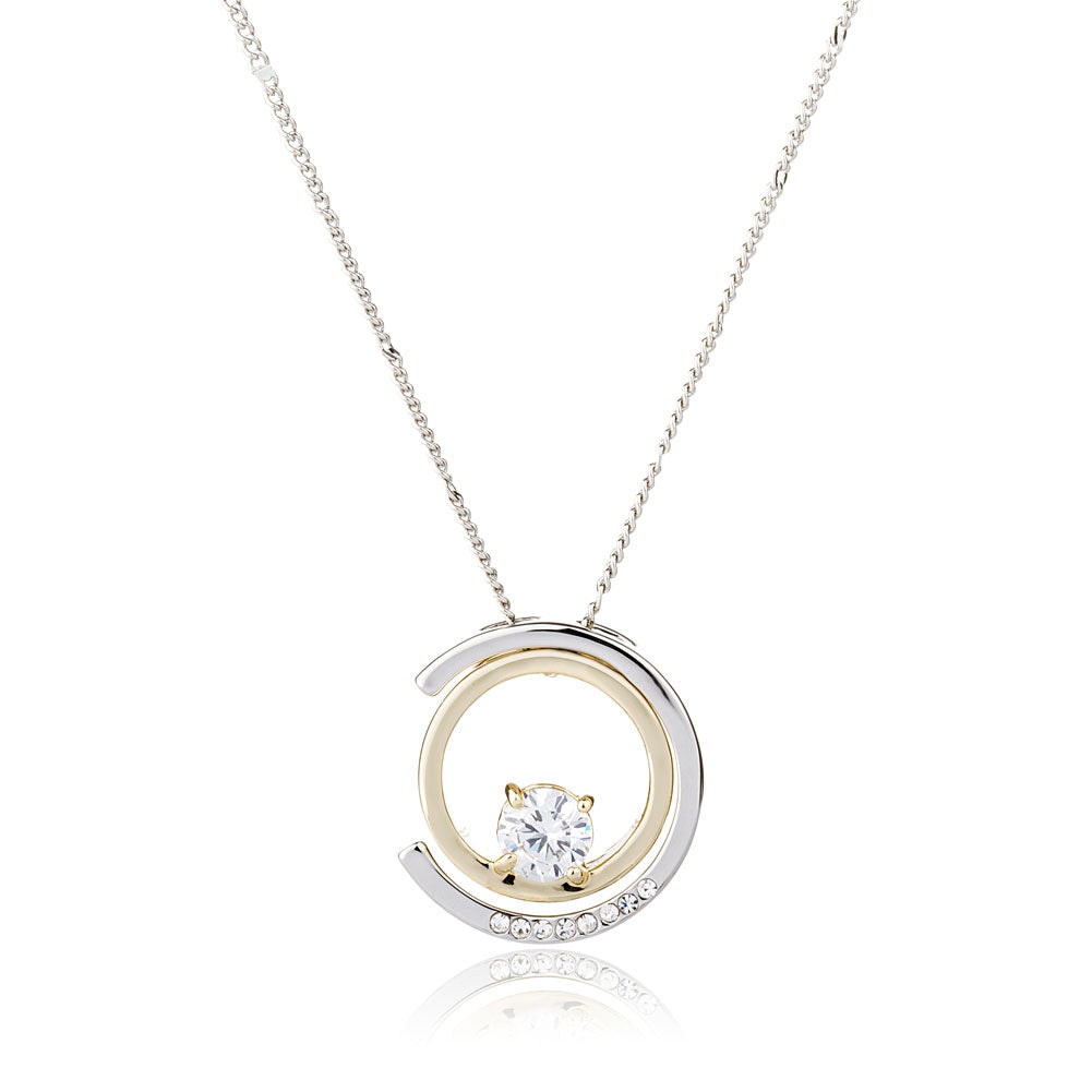 Round and C Shape Crystal Geometrical Necklace