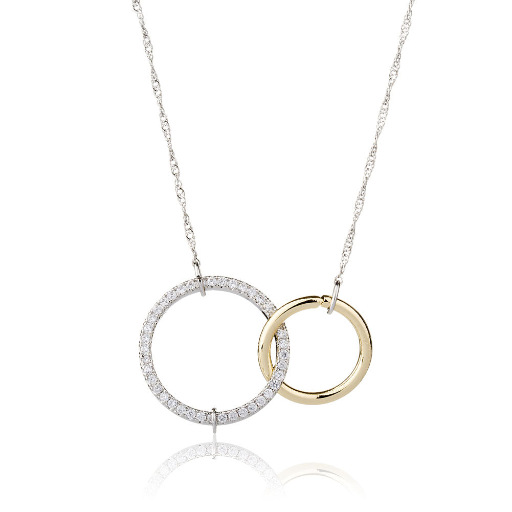 Two Circles Necklace Sister Necklace Friends Necklace Silver Jewelry