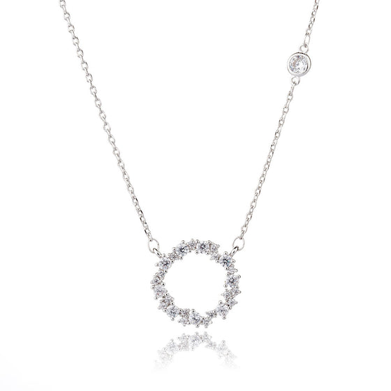 Round Circle Crystal Necklace