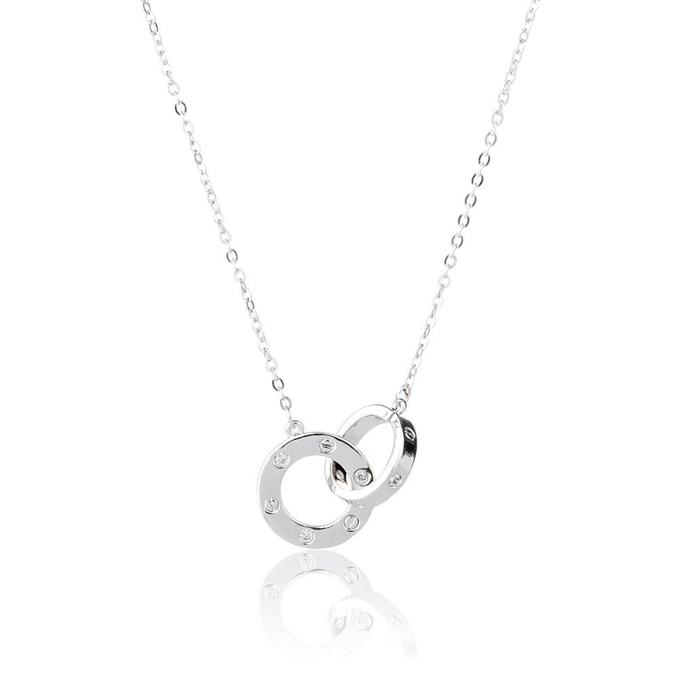 925 Sterling Silver 2 Circle Necklaces Minimalism Jewelry
