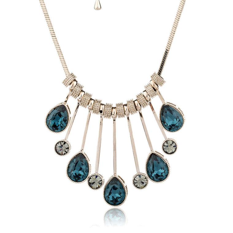 Blue Water Drop Crystal Necklace for Women