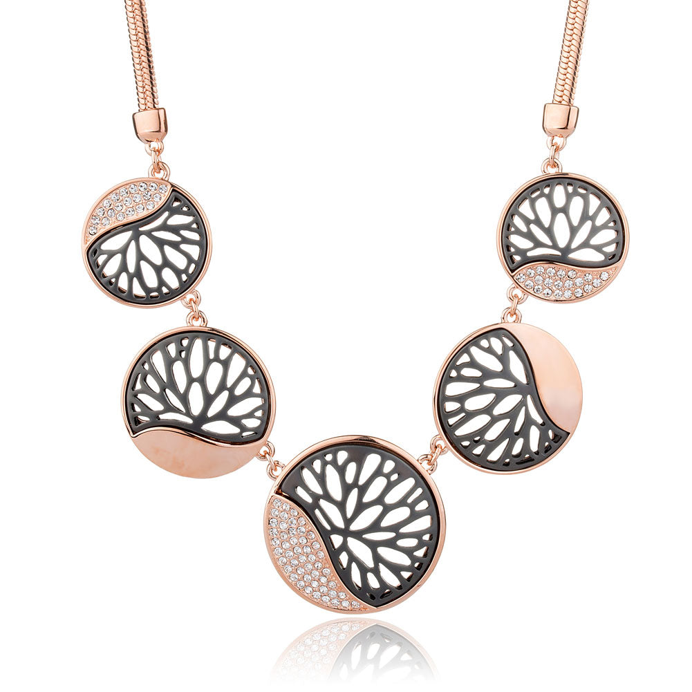 Rose Gold Round Necklace Lotus Hollow Crystal Jewelry