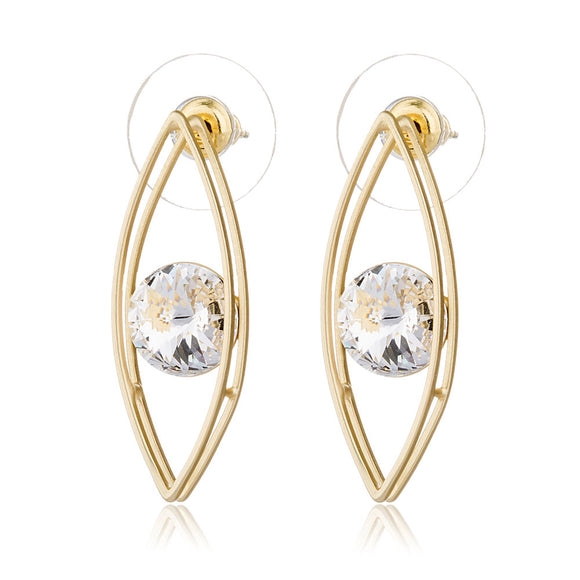 Eyes Hollow Crystal Gold Plated Stud Earrings