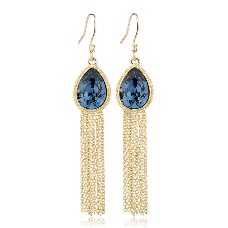Crystal Tassel Water Drop Earrings