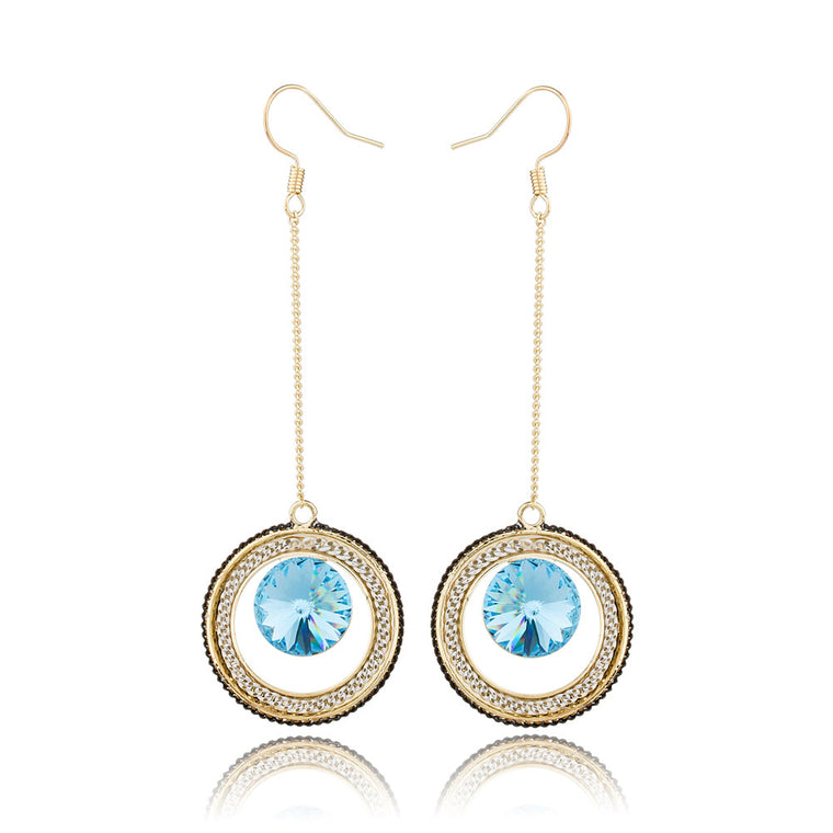 Long Line Circle Crystal Drop Earrings