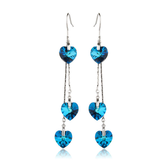 Blue Heart Love Swarovski Crystal Dangle Earrings