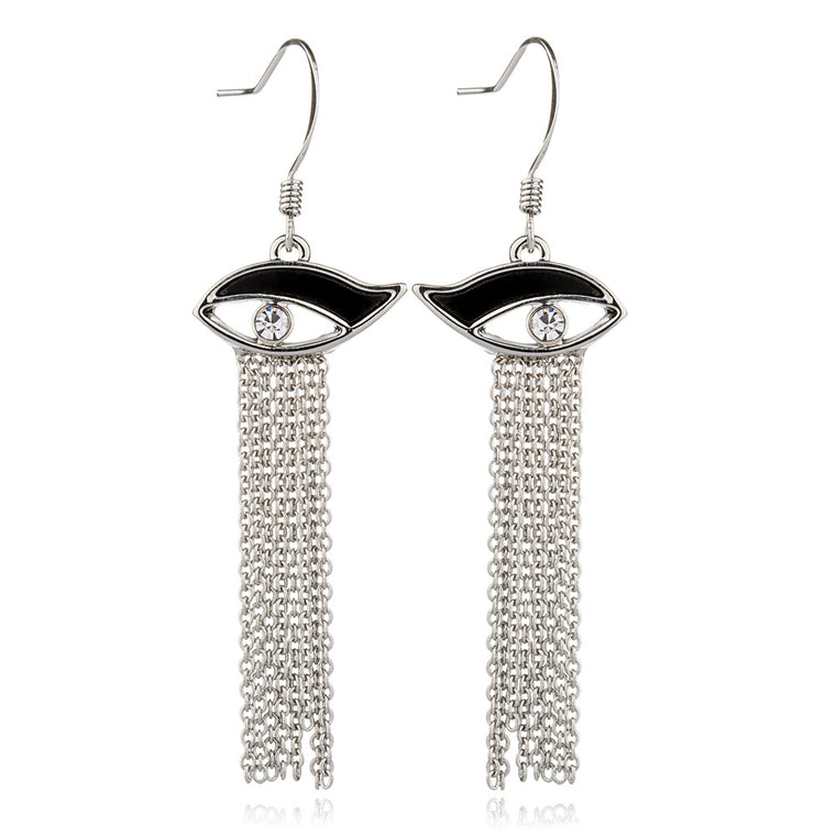 Eyes Tassel Metal Dangle Earrings