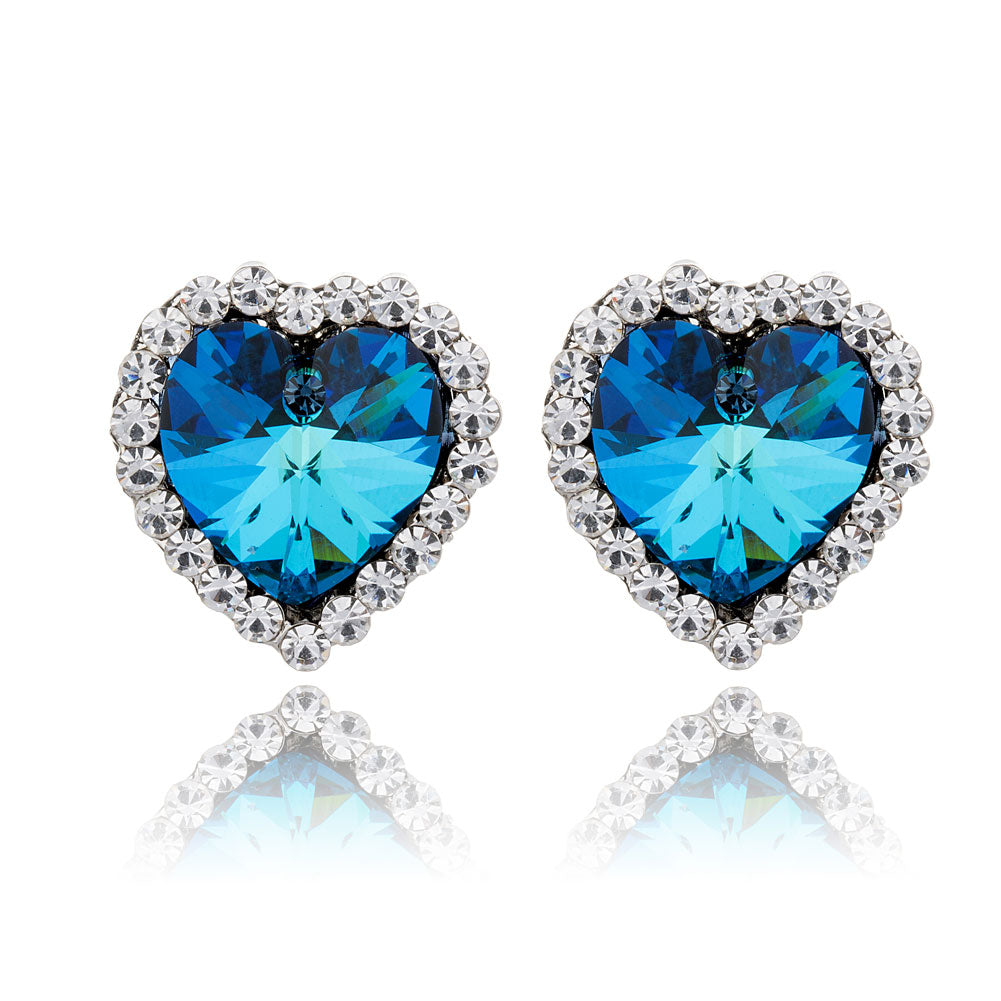 Blue Ocean Heart Swarovski Crystal Stud Earrings