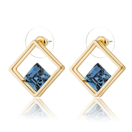 Square Hollow Crystal Stud Earrings