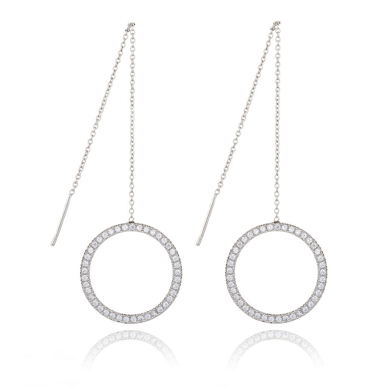 Circle Ear Line Crystal Earrings