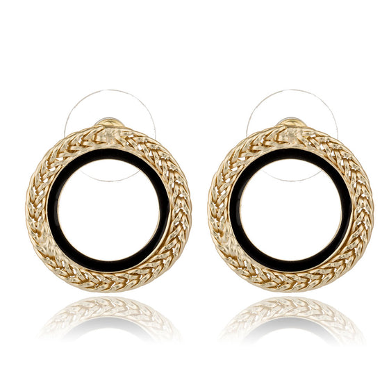 Round Circle Gold Color Stud Earrings