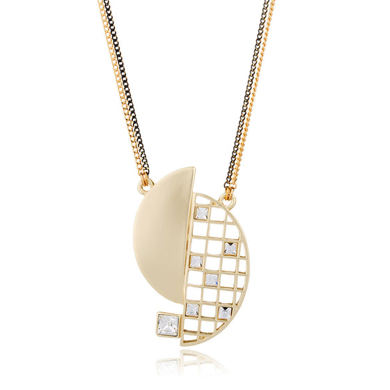 Geometeric Hollow Crystal Gold Long Chain Necklace