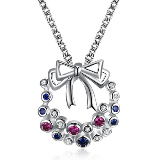 Christmas Bowknot Colorful Zircon Necklace for Women