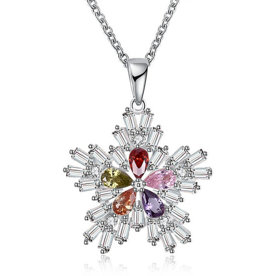 Christmas Colorful Snow Flake Necklace