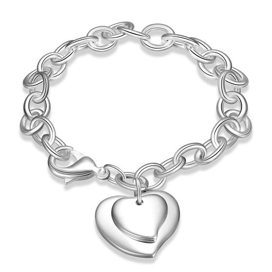 Double Heart Circle Strand Silver Bracelet
