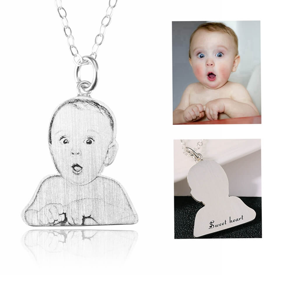 Custom Baby Portrait Memorial Necklace 925 Sterling Silver Handmade with Engraved Name, Personalized Necklace Jewelry