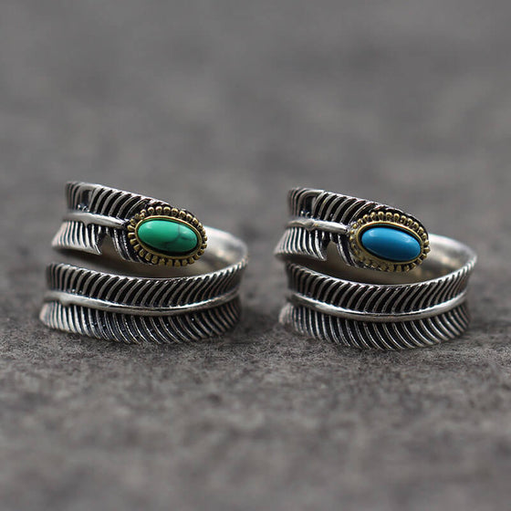 India Turquoise Feather Rings 925 Sterling Silver Open Ring