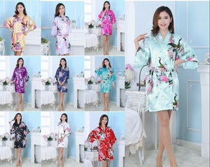 @Women Flower Silk Satin Robes Bridal Wedding Bridesmaid Bride Gown Robe
