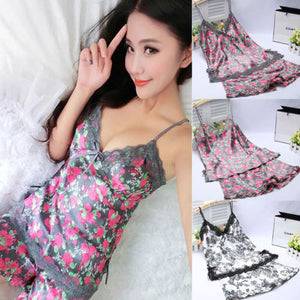 2pcs Women Sexy Satin Lace Sleepwear Babydoll Lingerie Nightdress Pajamas Set G9