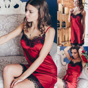 Lingerie Womens Sexy Silk Lace Nightdress Sleepwear Ladies Pajamas Robe Dress