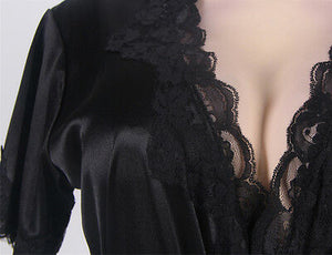 Sexy Women Satin Lingerie Sleepwear Nightwear Lace Robe Gown Babydoll Dress Set