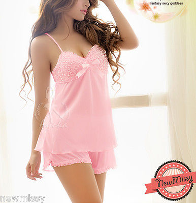 Pink Ivory Satin Bow Pyjama Set Nightie Nightwear Lingerie Vest Short Sleepwear