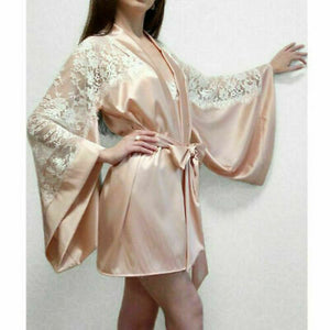 Women Long Sleeve Plain Kimono Silk Satin Bridesmaid Wedding Robe