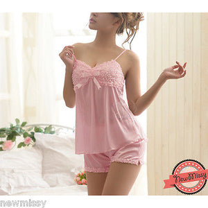 Pink Satin Bow Pyjama Set Nightie Nightwear Lingerie Top Vest Short Sleepwear M