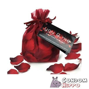 YOU & ME RED ROSE PETALS WITH TAG in a gift bag romantic couples adults private