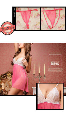 Women Babydoll Nightwear Underwear Sleepwear Sexy Dress Dressing Lingerie Pink