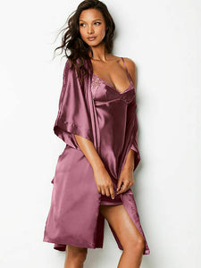 Victoria's Secret VS Very sexy purple satin silk Kimono robe size S-M