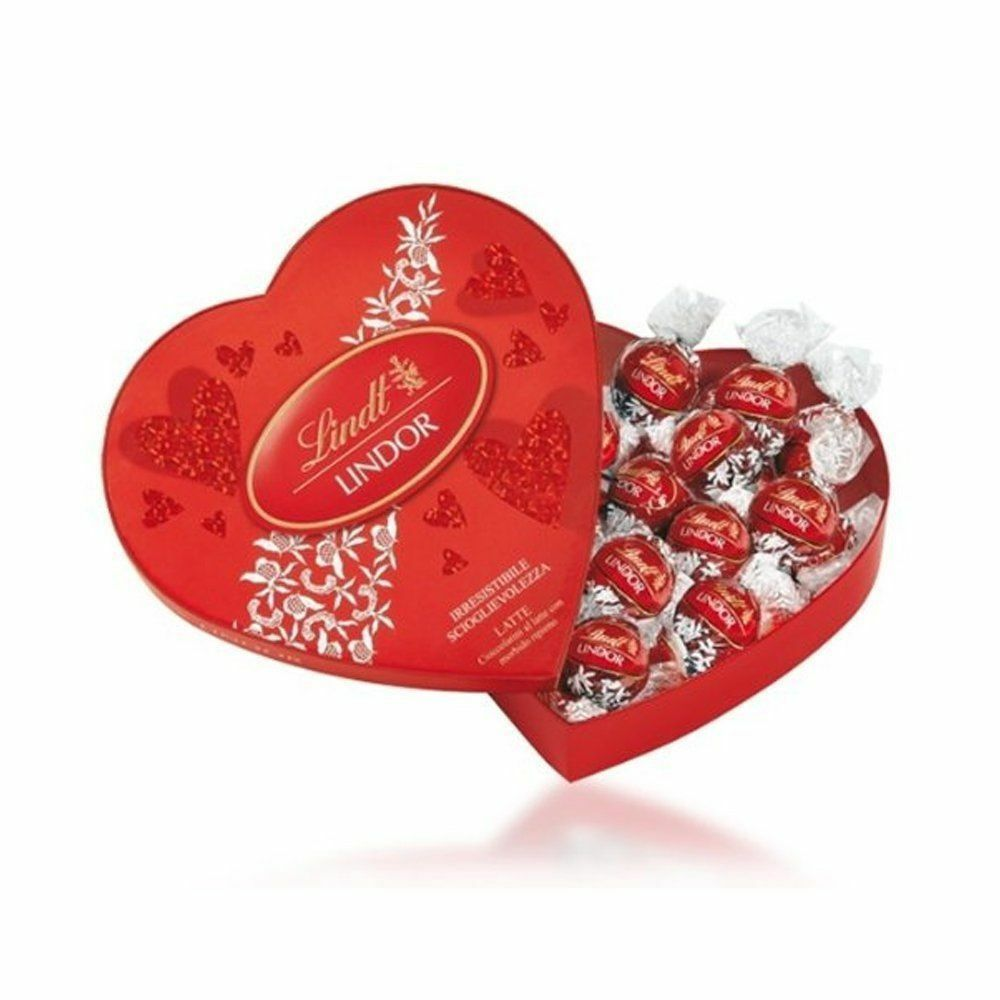 Lindt Lindor VALENTINES Luxury Truffles Hello Red HEART Gift Box Chocolate Tin