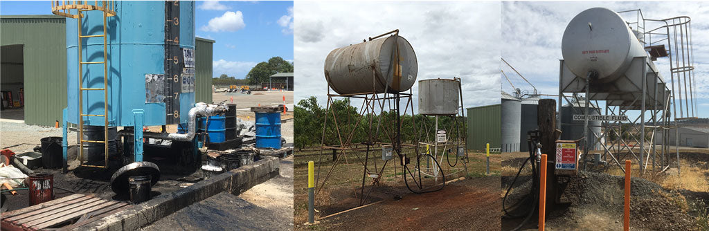 Non-Compliant Cylindrical tanks with no bund wall and ground contamination