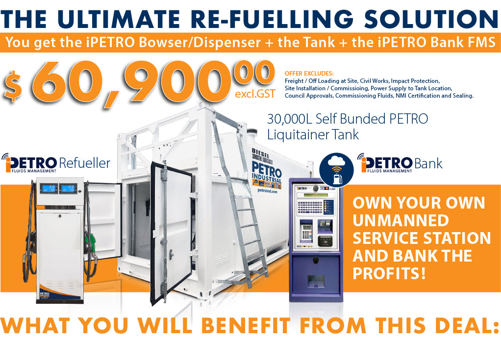 Ultimate unmanned Re-fuelling Retail service station setup including a LT30 bulk fuel storage Tank, retail iPETRO Re-Fueller Bowser and retail fuel management iPETRO Bank capable of accepting credit cards, debit cards and white cards