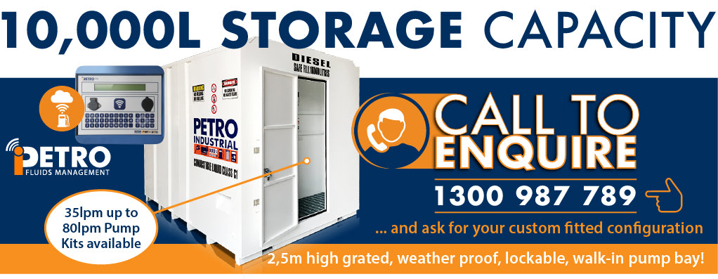 PETRO's 10,000 litre PS11 Store Self Bunded Fuel Storage Tank with walk-in pump bay