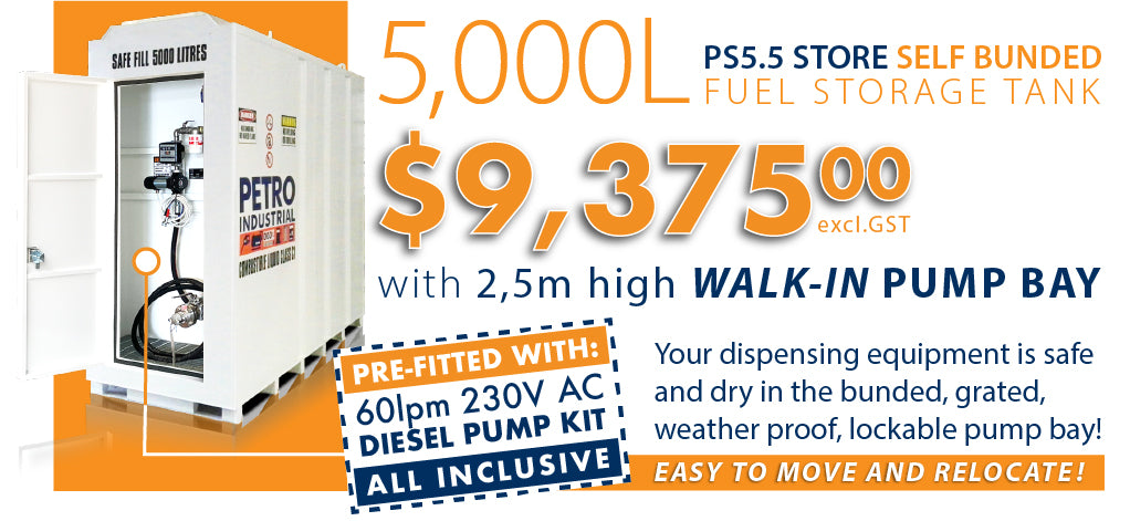 PETRO PS5.5 5,000L Self Bunded Tank with 60lpm Diesel Pump Kit included