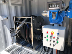 Remote controlled hose reel and pump complete with TCS Meter and custom switchboard