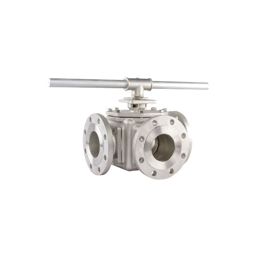 3 WAY FLANGED BALL VALVE RANGE - Full Bore 316 Stainless Steel - PETRO