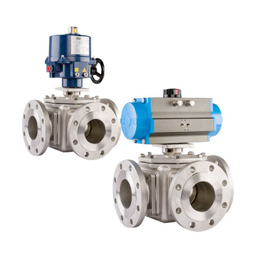 BALL VALVES 3 WAY FLANGED ACTUATED - Full Bore 316 Stainless Steel – PETRO
