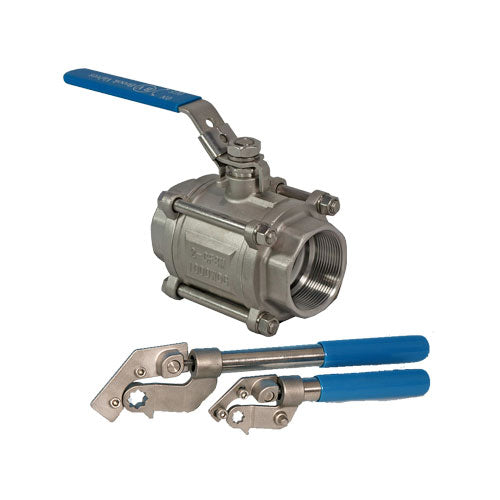 PETRO 316 Stainless Steel Ball Valve Deadman Handle 3 piece Full Bore Scr BSP
