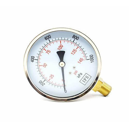 "Pressure Gauge - Liquid Fill, Stainless Steel, ¼"" BSP Bottom Entry"