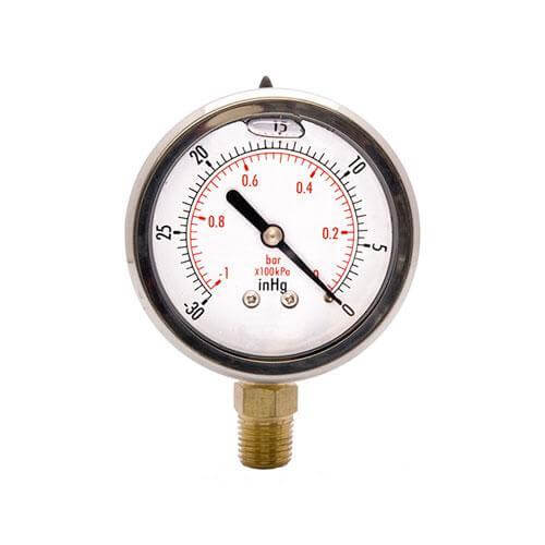 "Vacuum Gauge - 100 kPa, 63mm Liquid Fill, Stainless Steel, ¼"" BSP Bottom Entry IFS"