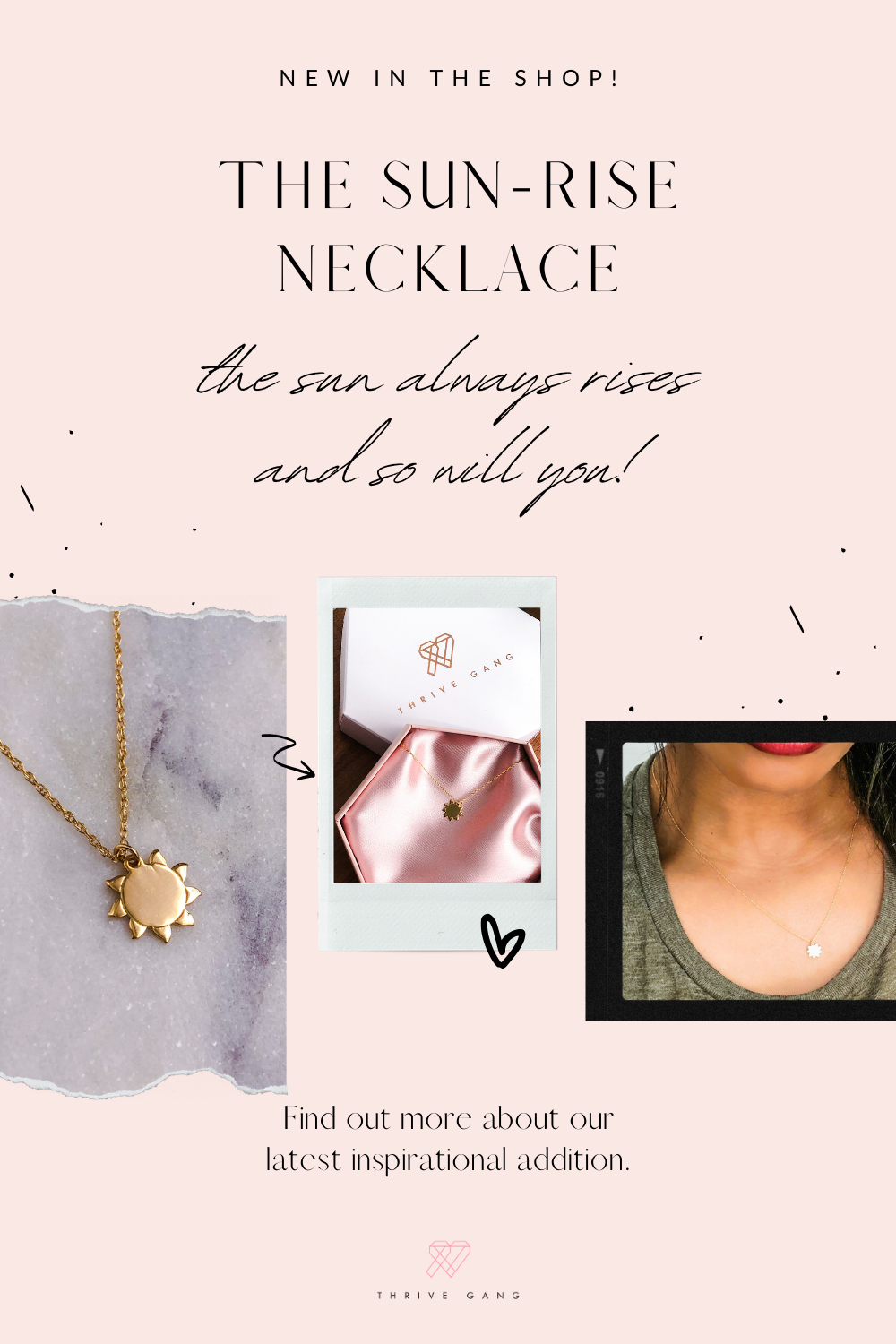 14k Solid Gold Pendant necklace. The will always rises and so will you. No matter where you are on your breast cancer journey we believe you will over come and thrive.